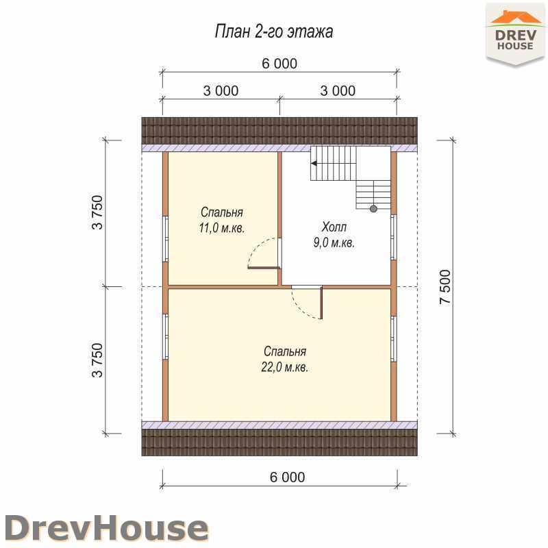 План 2 этажа полутораэтажного дома из бруса ДБ-27