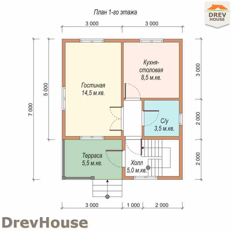 План 1 этажа полутораэтажного дома из бруса ДБ-26