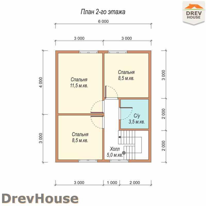 План 2 этажа полутораэтажного дома из бруса ДБ-26