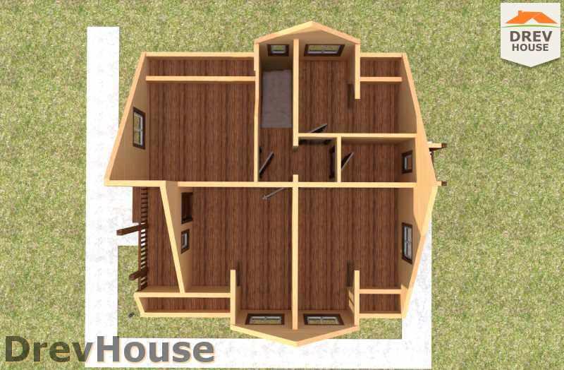 Вид изнутри 2 этажа проекта дома из бруса с мансардой ДБ-25