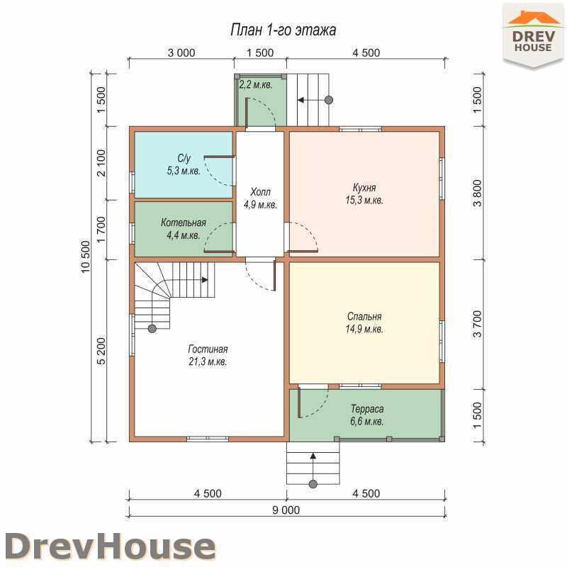 План 1 этажа дома из бруса с мансардой ДБ-25