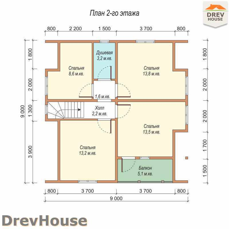 План 2 этажа дома из бруса с мансардой ДБ-25