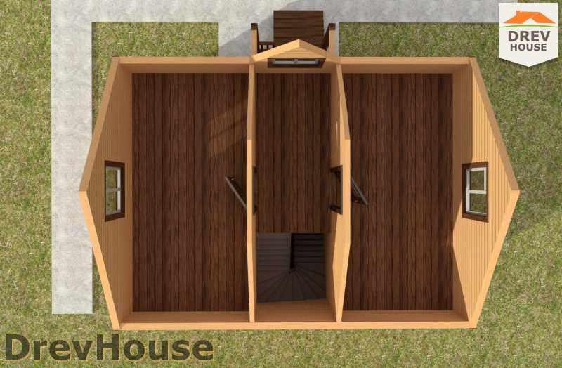 Вид изнутри 2 этажа проекта полутораэтажного дома из бруса ДБ-23