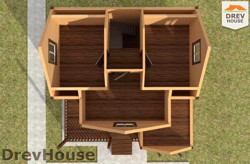 Вид изнутри 2 этажа проекта полутораэтажного дома из бруса ДБ-24
