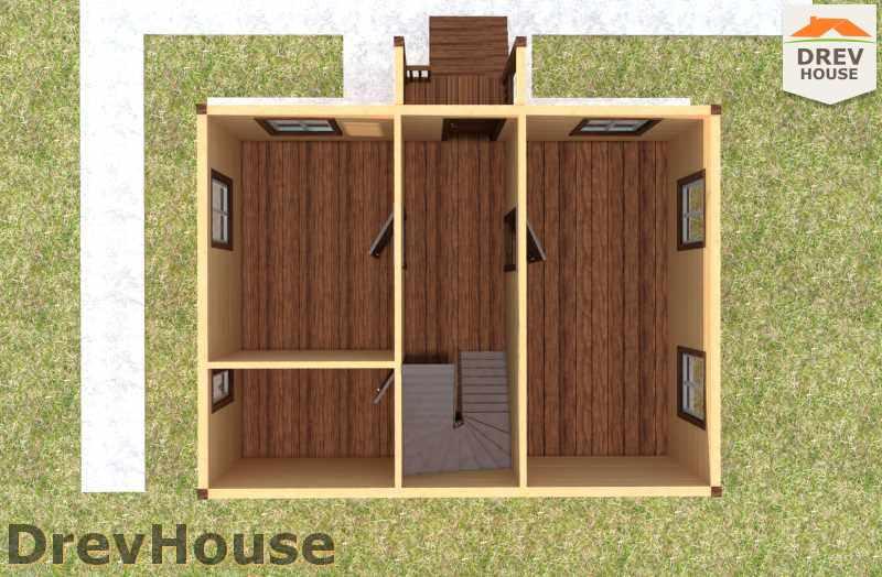 Вид изнутри 1 этажа проекта полутораэтажного дома из бруса ДБ-23