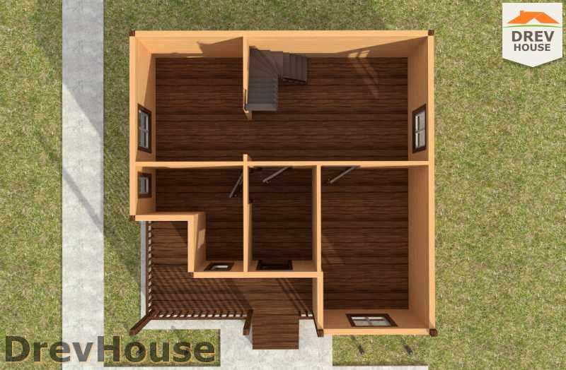Вид изнутри 1 этажа проекта полутораэтажного дома из бруса ДБ-24