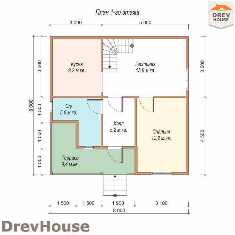 План 1 этажа полутораэтажного дома из бруса ДБ-24