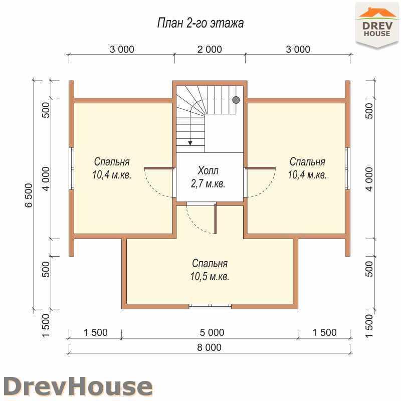 План 2 этажа полутораэтажного дома из бруса ДБ-24