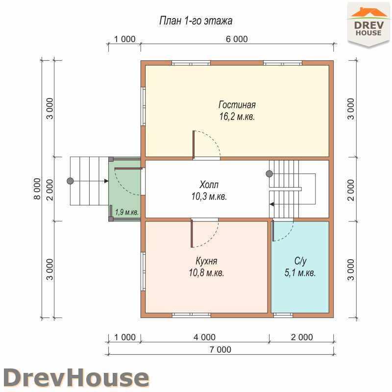 План 1 этажа полутораэтажного дома из бруса ДБ-23