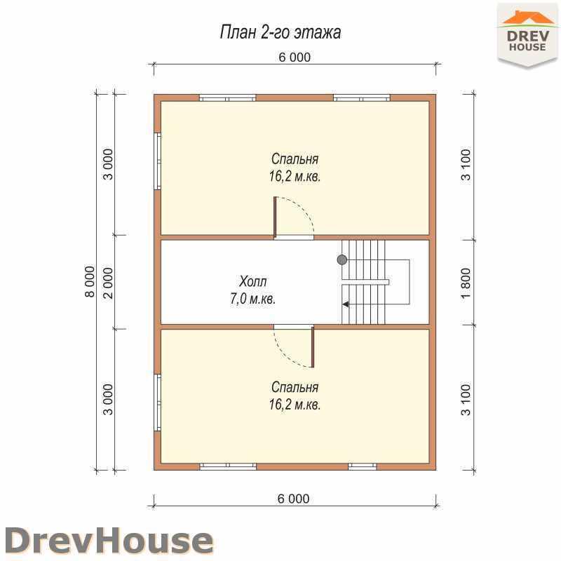 План 2 этажа полутораэтажного дома из бруса ДБ-23