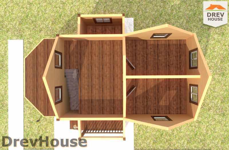 Вид изнутри 2 этажа проекта полутораэтажного дома из бруса ДБ-22