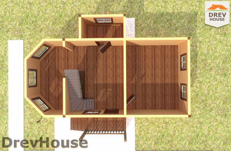 Вид изнутри 1 этажа проекта полутораэтажного дома из бруса ДБ-22