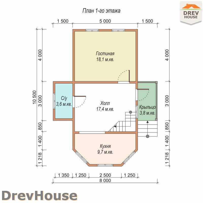 План 1 этажа полутораэтажного дома из бруса ДБ-22