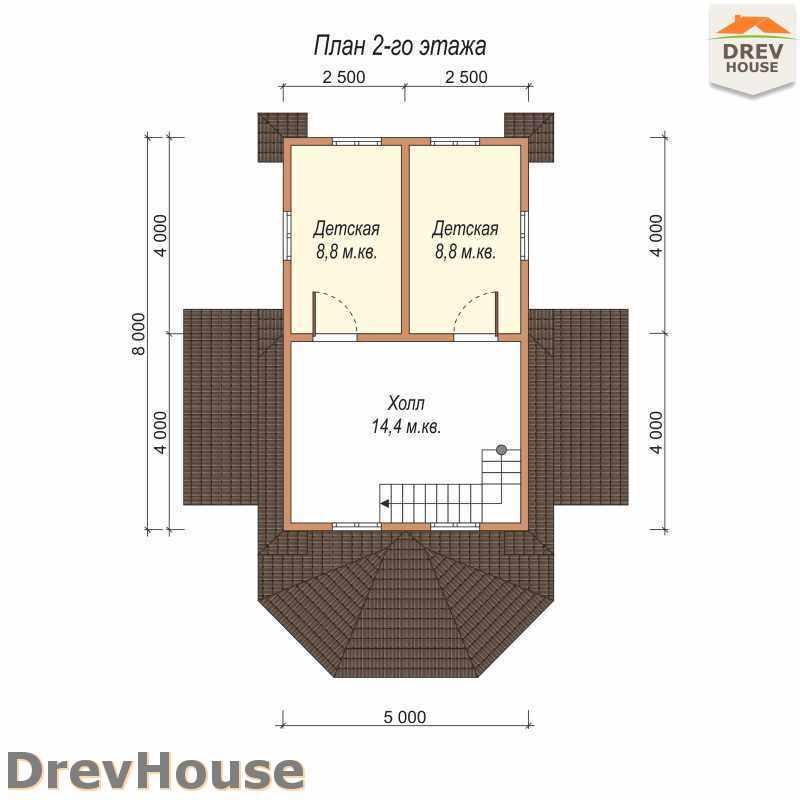 План 2 этажа полутораэтажного дома из бруса ДБ-22
