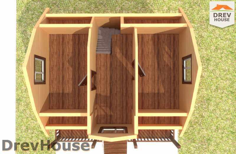 Вид изнутри 2 этажа проекта дома из бруса с мансардой ДБ-21