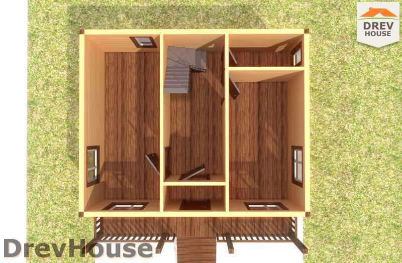Вид изнутри 1 этажа проекта дома из бруса с мансардой ДБ-21