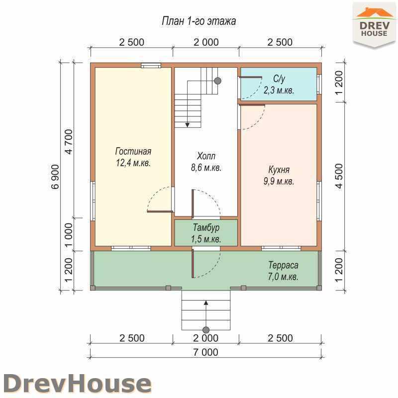 План 1 этажа дома из бруса с мансардой ДБ-21