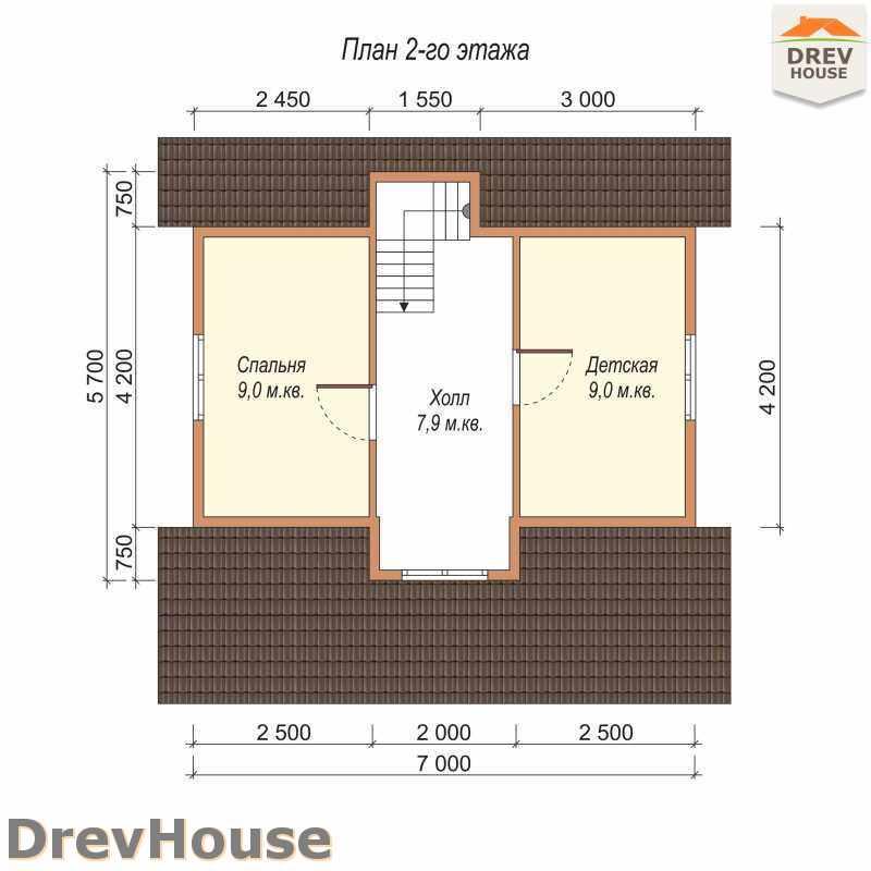 План 2 этажа дома из бруса с мансардой ДБ-21