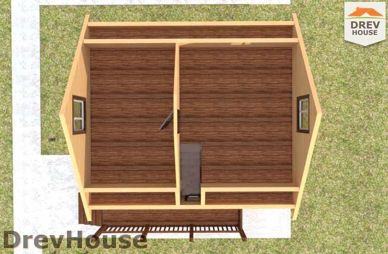 Вид изнутри 2 этажа проекта дома из бруса с мансардой ДБ-6
