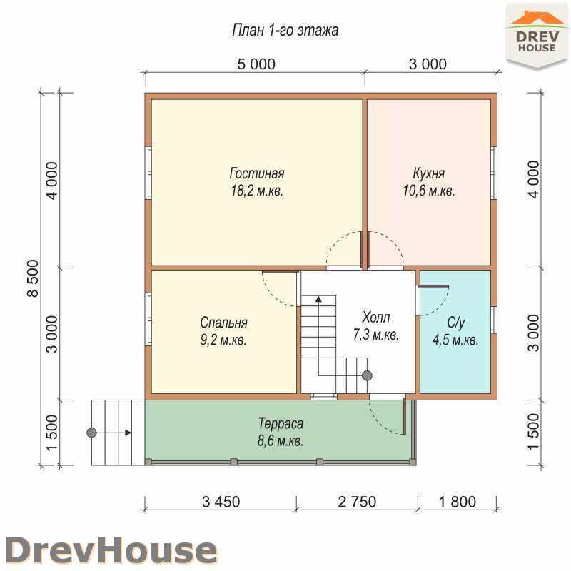 План 1 этажа дома из бруса с мансардой ДБ-6