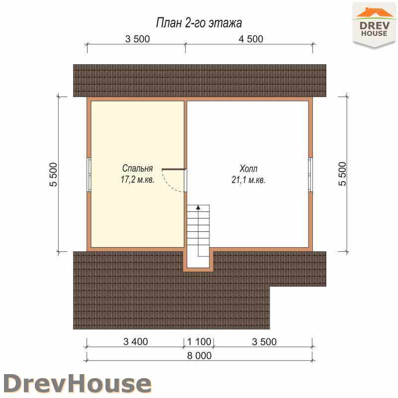 План 2 этажа дома из бруса с мансардой ДБ-6