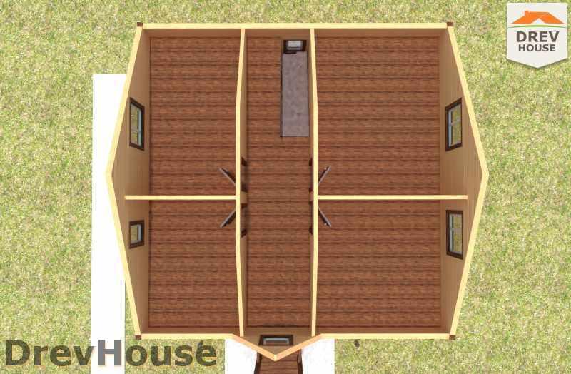 Вид изнутри 2 этажа проекта полутораэтажного дома из бруса ДБ-20