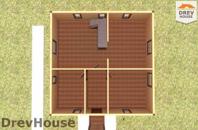 Вид изнутри 1 этажа проекта полутораэтажного дома из бруса ДБ-20