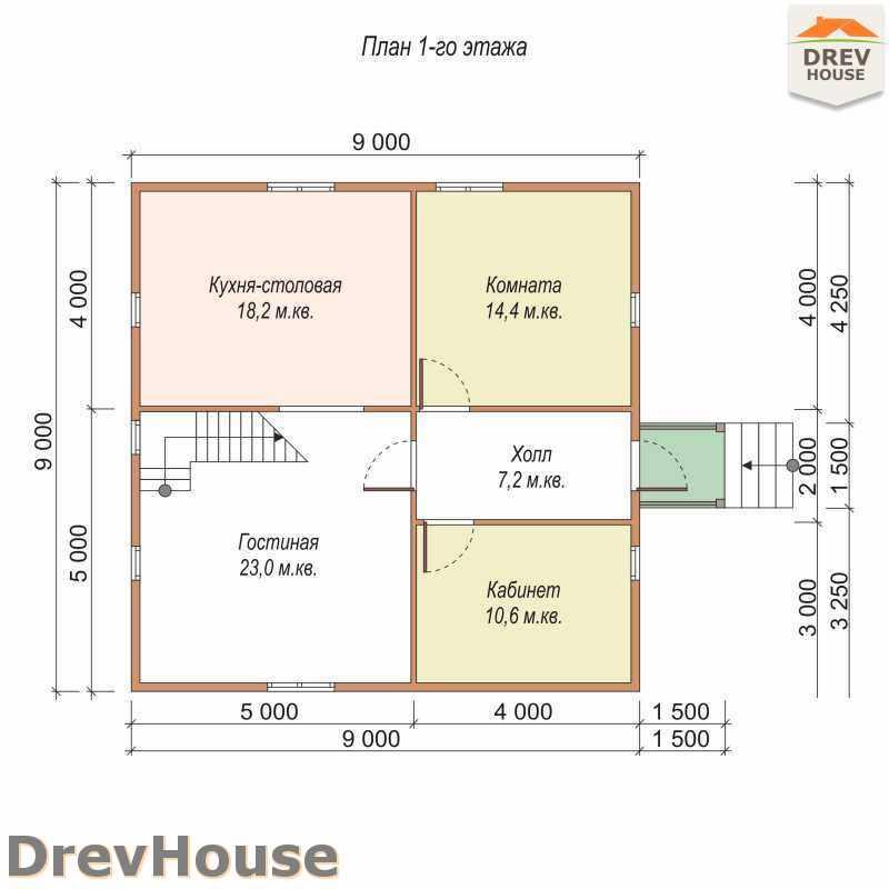 План 1 этажа полутораэтажного дома из бруса ДБ-20