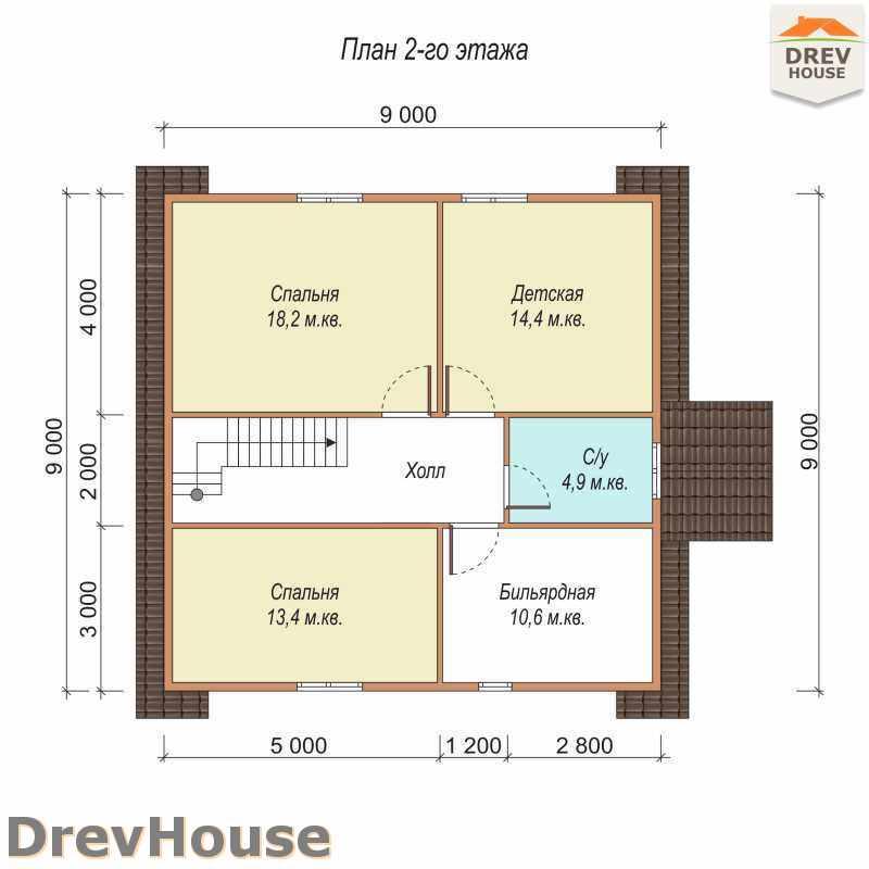 План 2 этажа полутораэтажного дома из бруса ДБ-20