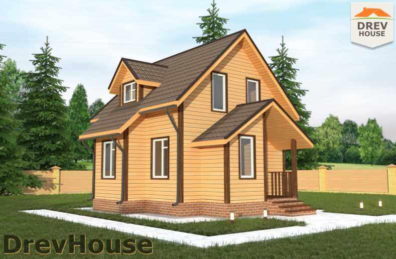 Главное фото проекта полутораэтажного дома из бруса ДБ-19
