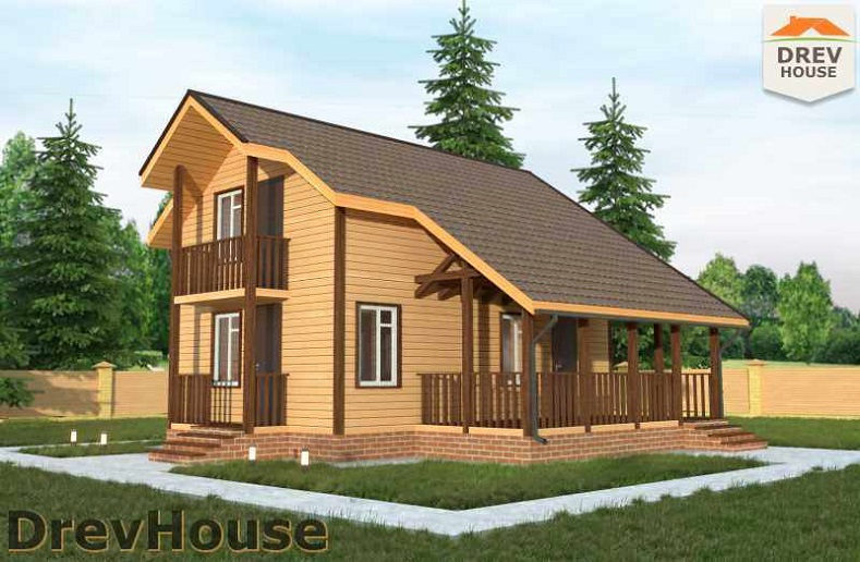 Главное фото проекта полутораэтажного дома из бруса ДБ-18