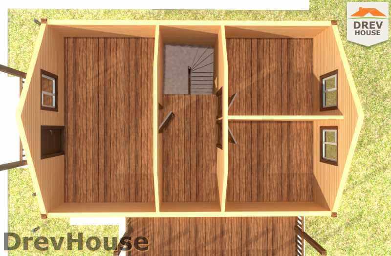 Вид изнутри 2 этажа проекта полутораэтажного дома из бруса ДБ-18
