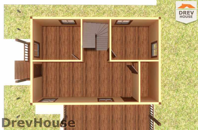 Вид изнутри 1 этажа проекта полутораэтажного дома из бруса ДБ-18