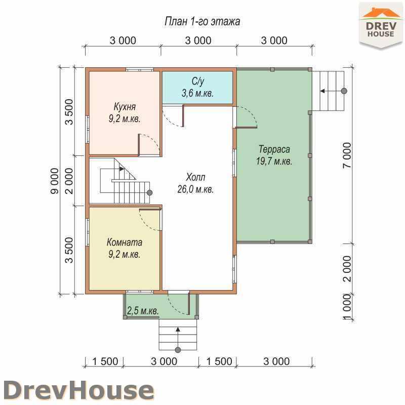 План 1 этажа полутораэтажного дома из бруса ДБ-18