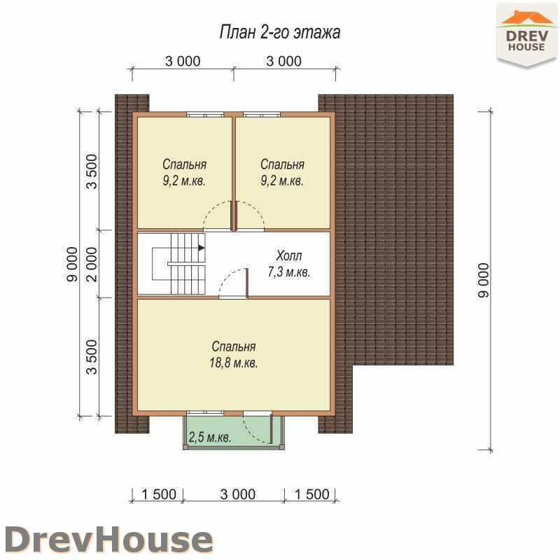 План 2 этажа полутораэтажного дома из бруса ДБ-18