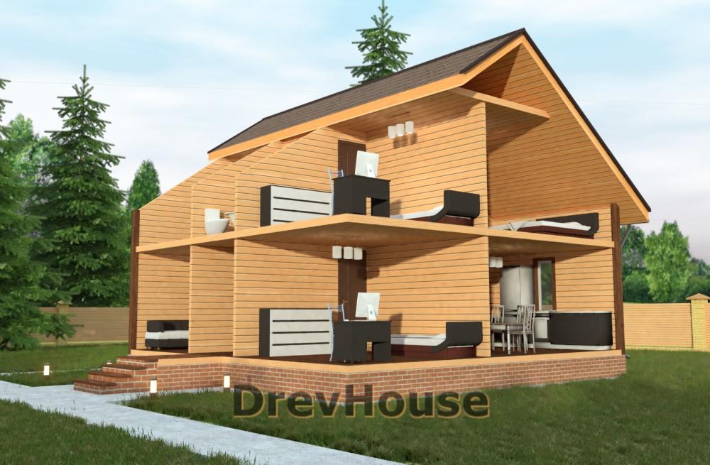 Вид изнутри проекта полутораэтажного дома из бруса ДБ-20