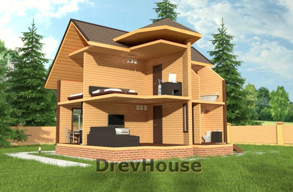 Вид изнутри проекта полутораэтажного дома из бруса ДБ-36