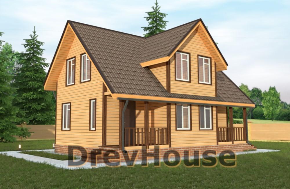 Главное фото проекта дома из бруса с мансардой ДБ-30