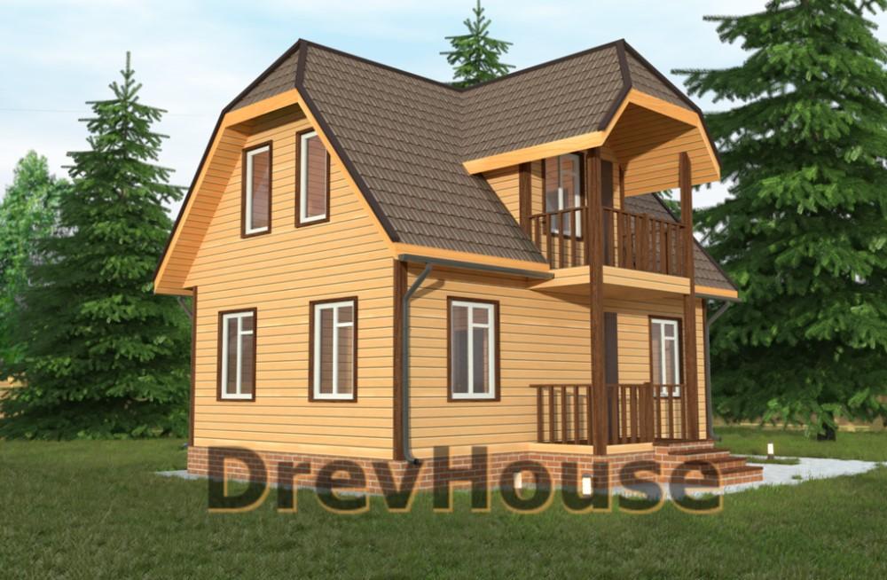 Главное фото проекта дома из бруса с мансардой ДБ-31