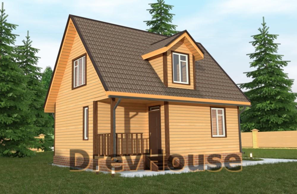 Главное фото проекта дома из бруса с мансардой ДБ-33
