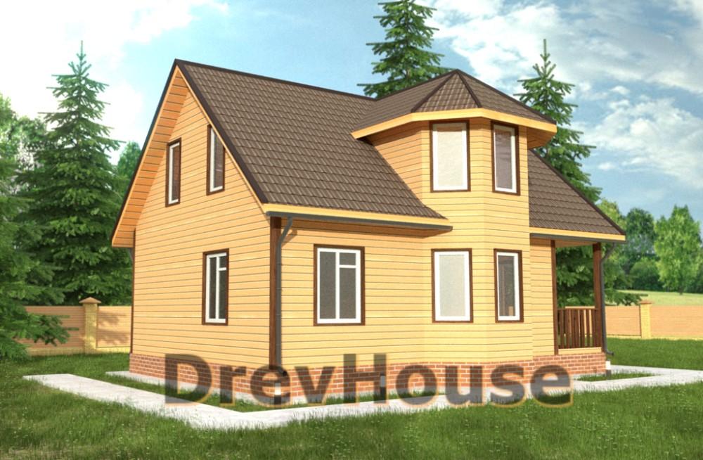 Главное фото проекта дома из бруса с мансардой ДБ-37