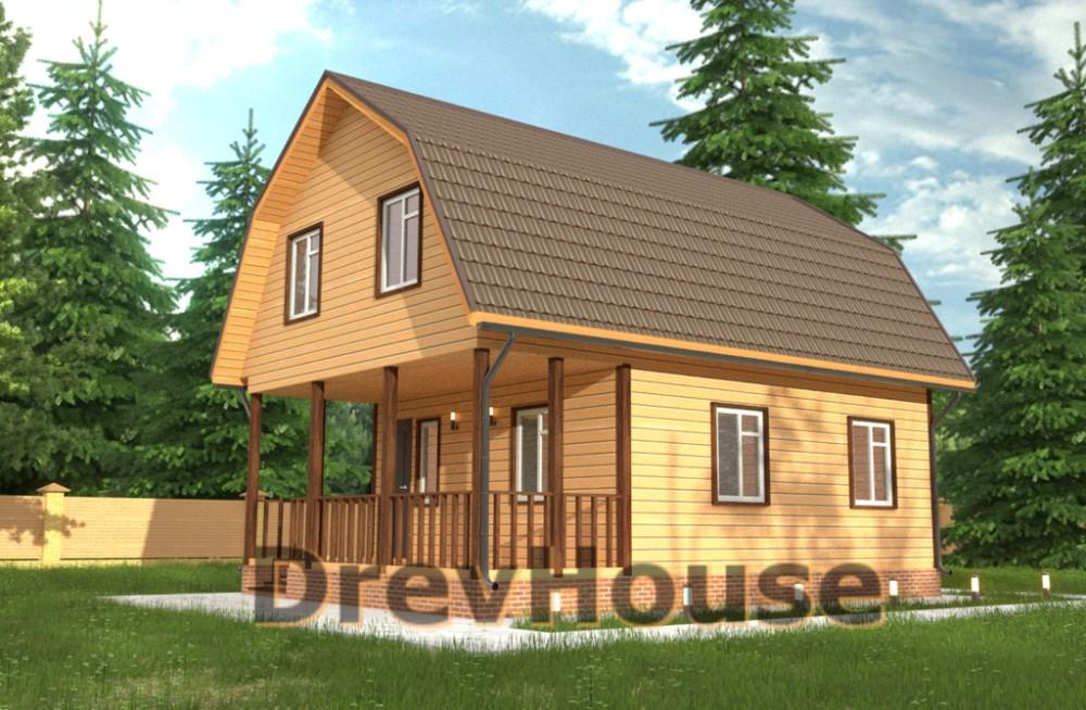 Главное фото проекта дома из бруса с мансардой ДБ-41