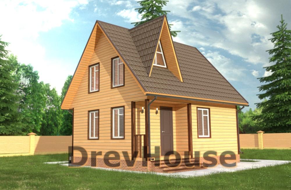 Главное фото проекта дома из бруса с мансардой ДБ-42