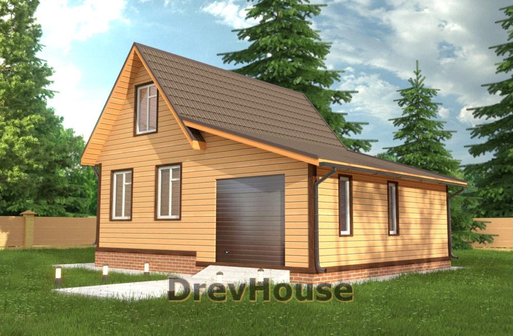 Главное фото проекта дома из бруса с мансардой ДБ-44