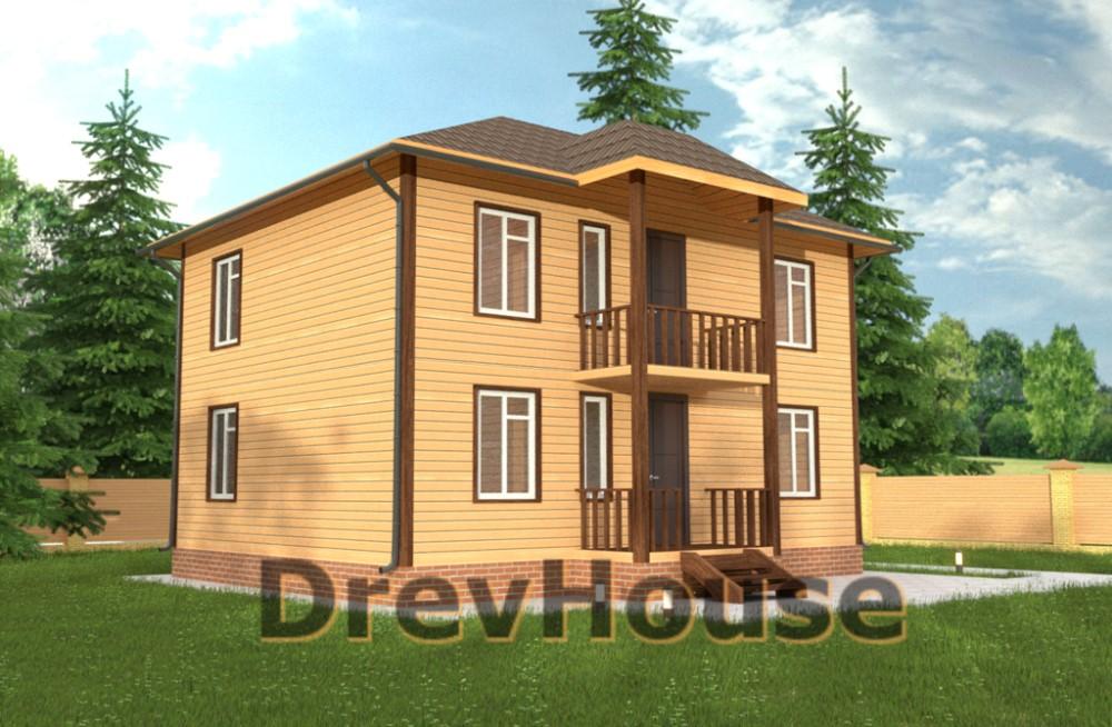 Главное фото проекта двухэтажного дома из бруса ДБ-34