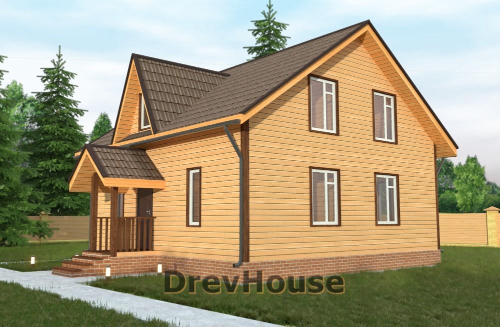 Главное фото проекта полутораэтажного дома из бруса ДБ-20