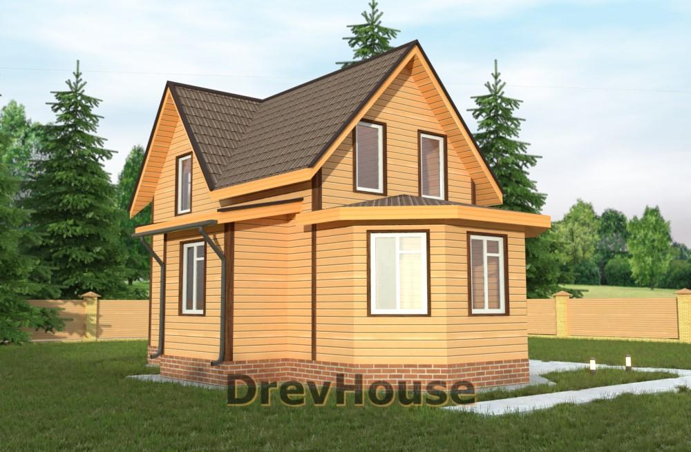Главное фото проекта полутораэтажного дома из бруса ДБ-22