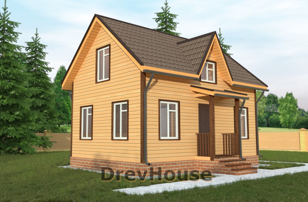 Главное фото проекта полутораэтажного дома из бруса ДБ-23