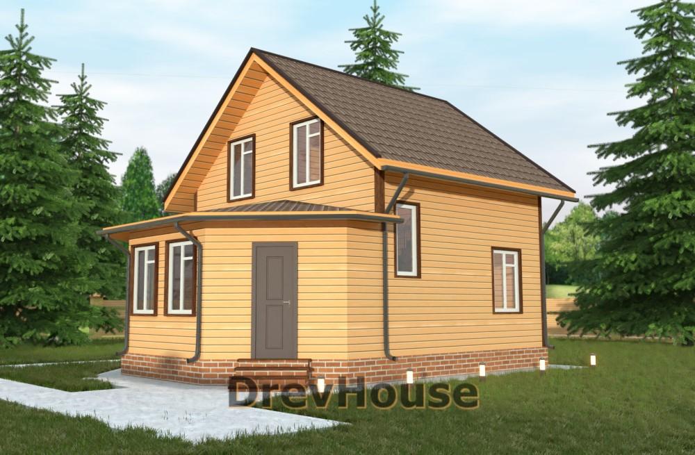 Главное фото проекта полутораэтажного дома из бруса ДБ-27