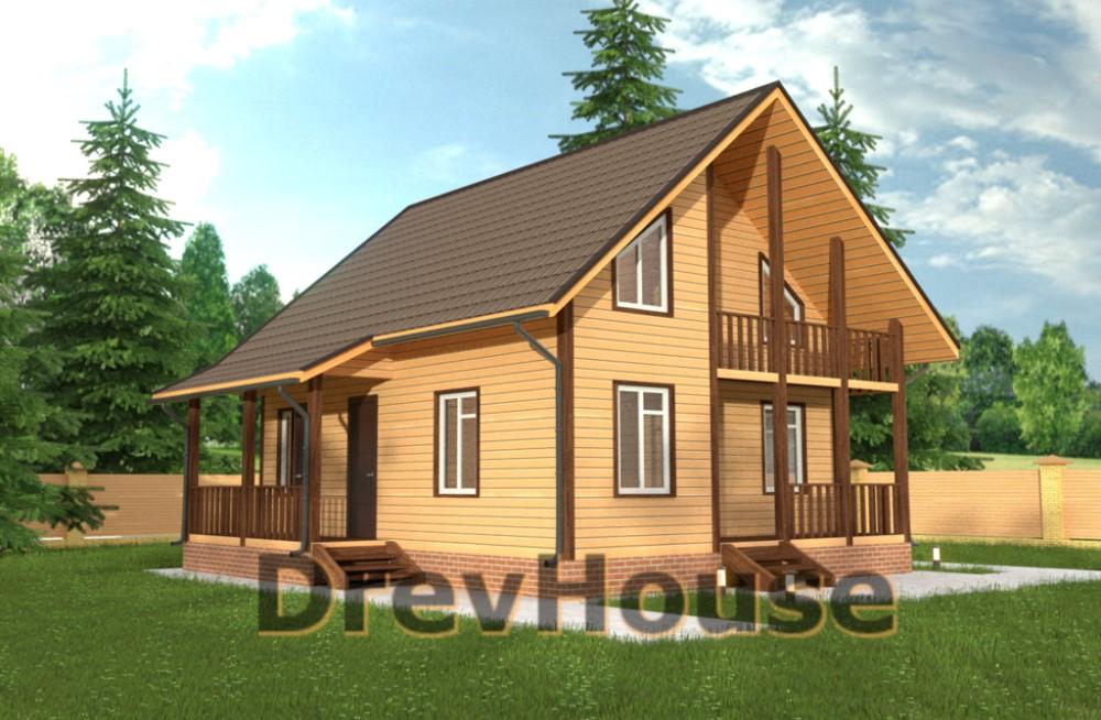 Главное фото проекта полутораэтажного дома из бруса ДБ-35